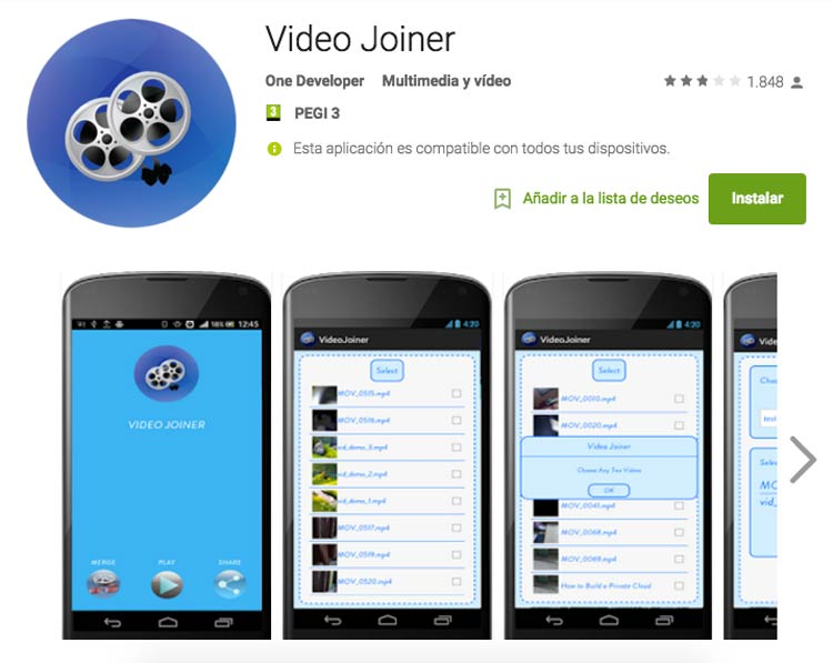video joiner aplicación para juntar vídeos